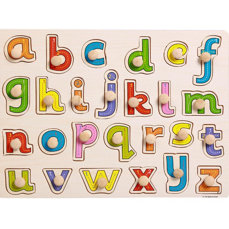 Puzzle incastru lemn Alfabetul a-z copii cu butoni