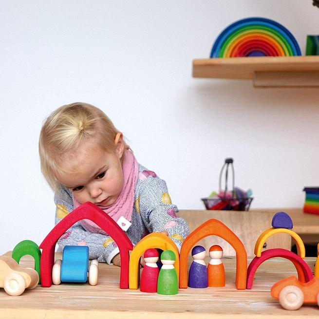 Joc Montessori Casuta curcubeu din lemn cu 5 piese