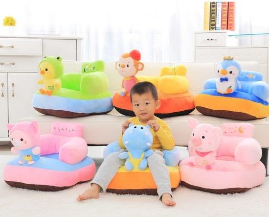 Fotoliu din plush cu spatar bebe Sit Up Animalute