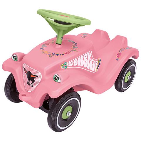 Masina de curse Big Bobby Car roz cu flori