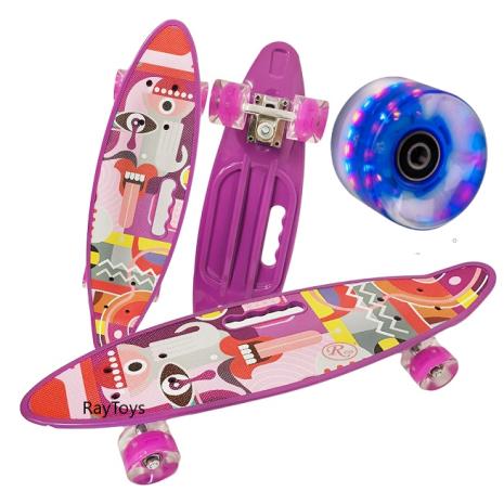 Penny board Mov copii cu roti de silicon si lumini