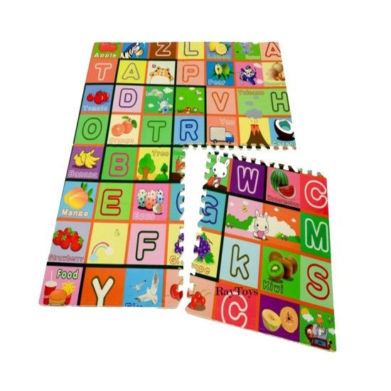 Covor de joaca tip puzzle cu fructe si litere copii