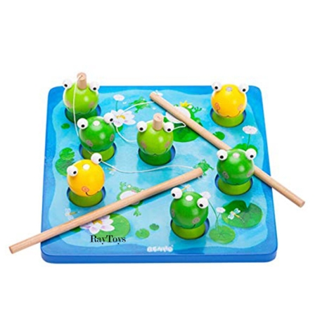 Joc-de-pescuit-magnetic-din-lemn-cu-broasca-3D