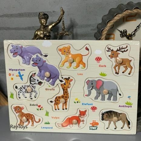 Puzzle incastru Animale Jungla din lemn in Limba Romana