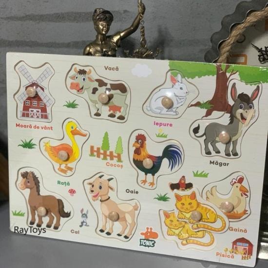 Puzzle incastru Animale domestice din lemn in Limba Romana