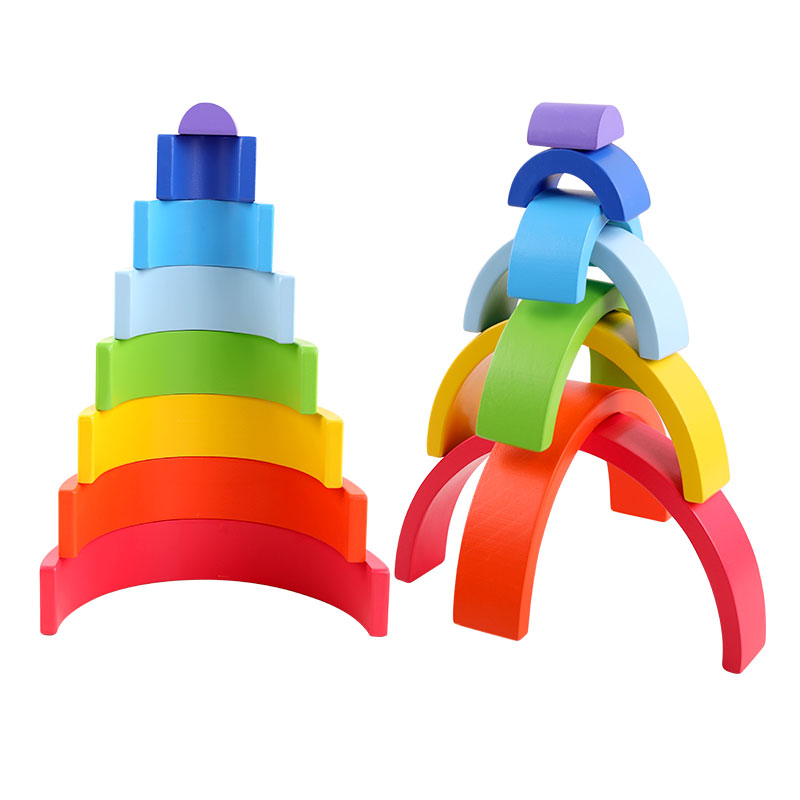 Curcubeu Rainbow blocks cu 8 piese Jucarie de stivuit