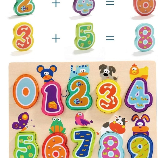 Puzzle piese mari 3D cifre cu animale 0 - 9 Topbright