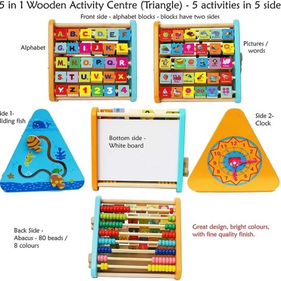 Centru de activitati din lemn litere si imagini(engleza) 5 in 1