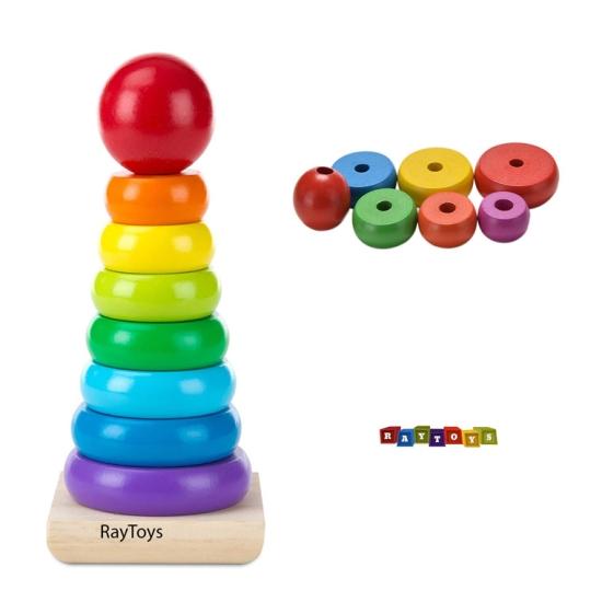 Turn din lemn cu inele tip cerc forma Piramida Rainbow4