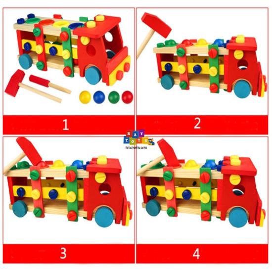 Camion-din-lemn-banc-scule-si-ciocanel-cu-bile-2in14