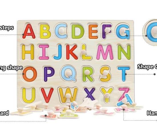 Puzzle din lemn incastru cu butoni Alfabet A-Z2