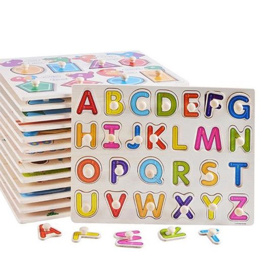 Puzzle din lemn incastru cu butoni Alfabet A-Z1