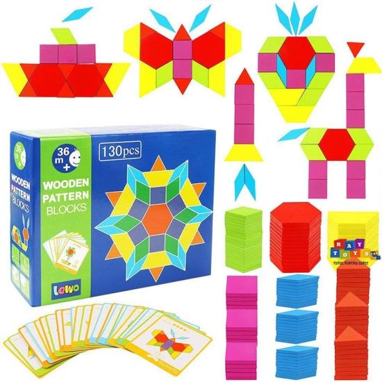 Tangram-copii-130pc-din-lemn-forme-geometrice