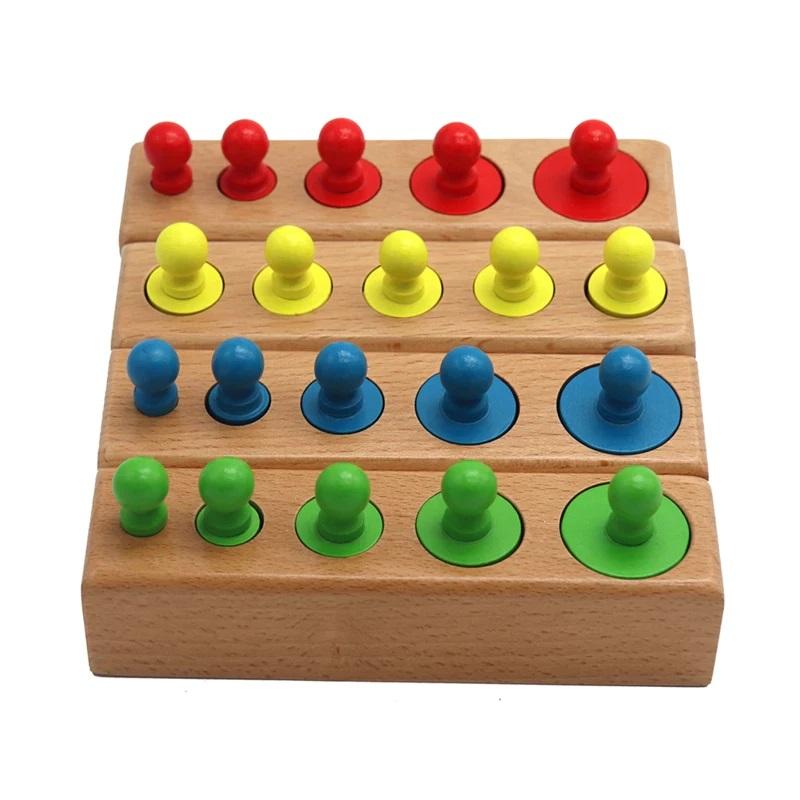 Jucarii Montessori Cilindri din lemn colorati 4 seturi