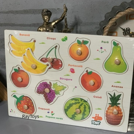 Puzzle incastru Fructe din lemn in Limba Romana
