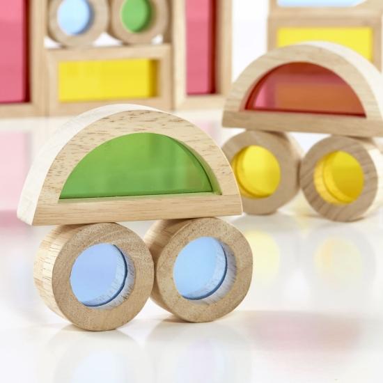 Joc cu cuburi senzoriale lemn colorate 40pc Rainbow Blocks