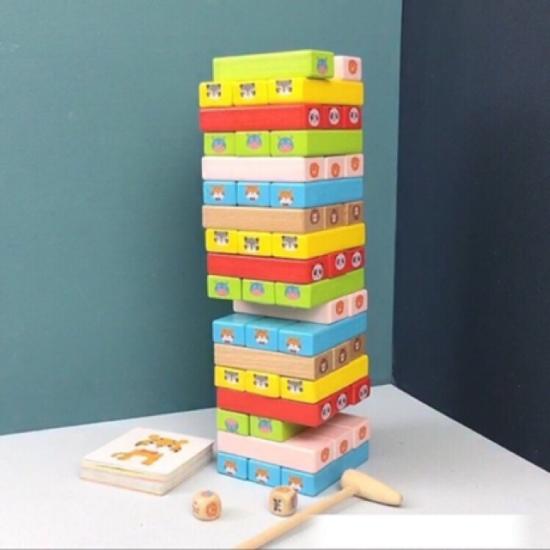 Cuburi lemn Jenga Turnul instabil 51 piese animale