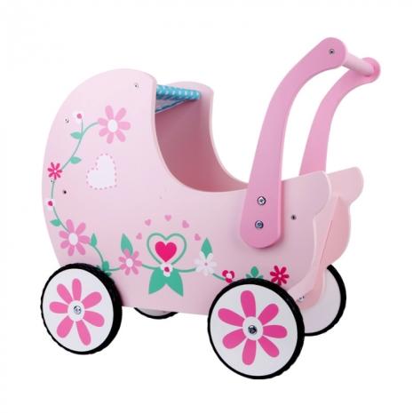 Carucior roz copii din lemn pentru papusi MSN