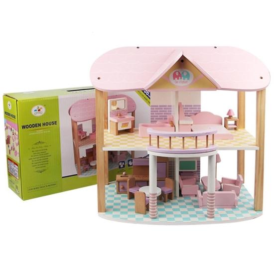 Casuta de papusi din lemn cu 2 etaje, Roz