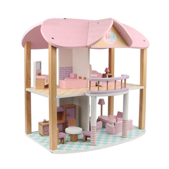 Casuta papusi din lemn cu mobilier cu 2 etaje MSN