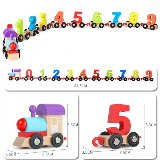 Jucarie Trenulet digital din lemn cu cifre 0-91