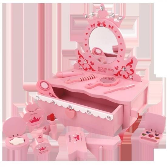 Masuta roz de infrumusetare din lemn cu accesorii