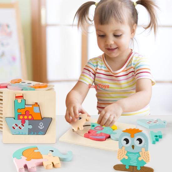 Puzzle-din-lemn-3D-Montessori-cu-animale-si-vehicule-1