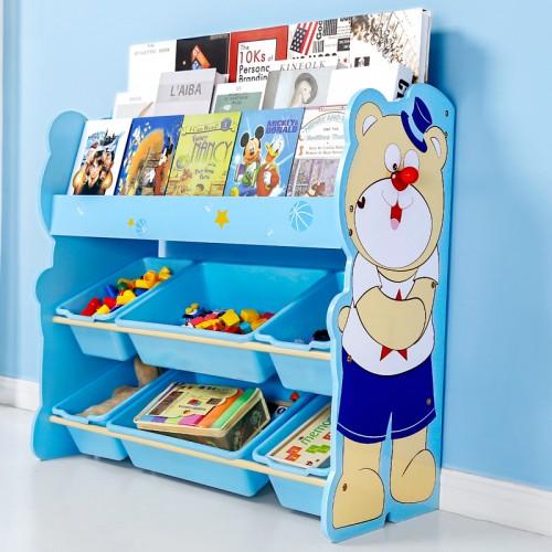 Rafturi din lemn pentru depozitare jucarii, model urs, Onshine, Albastru