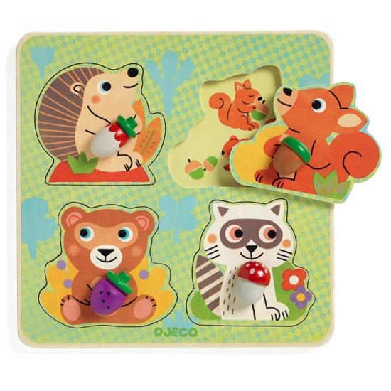 puzzle-lemn-cu-butoni-animale-din-padure-djeco4