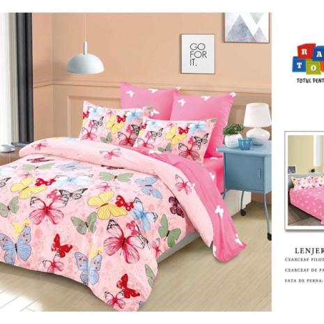 Set Lenjerie de pat Finet 6 piese Fluturi roz