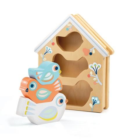 Jucarie educativa stivuire din lemn BabyBirdi Djeco