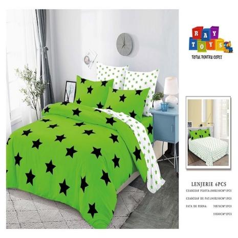 Set Lenjerie de pat Finet 6 piese verde Stelute