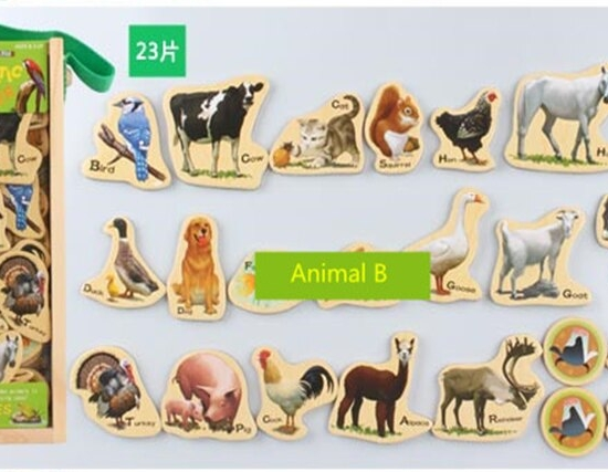 Wooden Magnets Animal Farm 23pieces Magnetic Stickers MagnaFun Set for Kids Toys for sale online | eBay