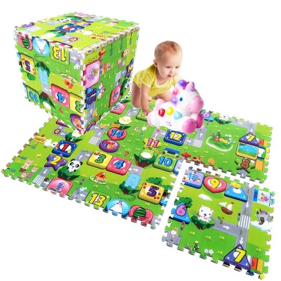 Covoras puzzle de joaca bebe Trafic si Cifre din 4 placi