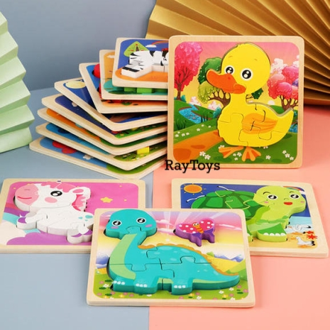 puzzle-lemn-3d-montessori-rainbow-animale