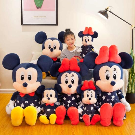 Mickey si Minnie Mouse plus cu rochite bleumarin 80 cm