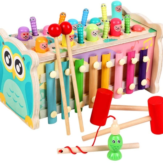 Jucarie educationala Banc de lucru cu xilofon si ciocanel