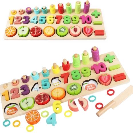 Puzzle educativ lemn sortare-oeratii matematice si fructe