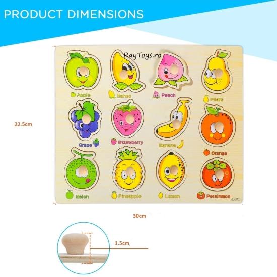 Puzzle incastru Fructe Apple cu butoni din lemn S3011