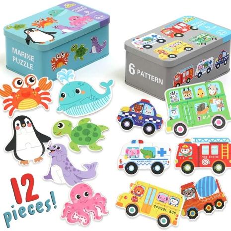 Set 6 puzzle piese mari in cutie metalica copii