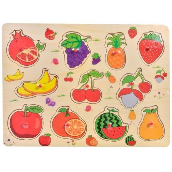 Puzzle incastru Fructe Rodie cu butoni din lemn