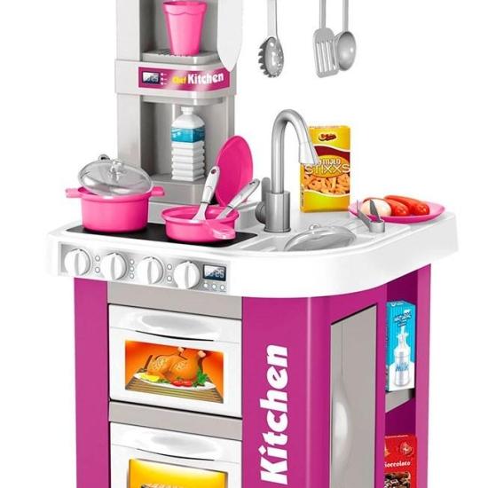 Bucatarie cu frigider-aparat de cafea-lumina si muzica Chef