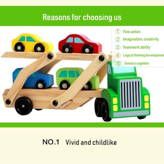 Camion de transportat masini cu platforma dubla din lemn