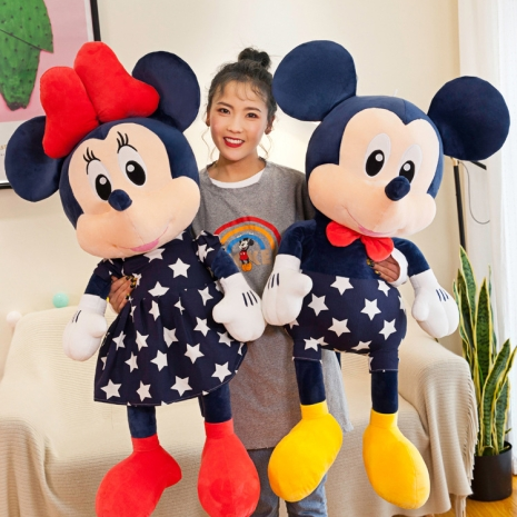 Mickey si Minnie Mouse plus cu rochite bleumarin 80 cm