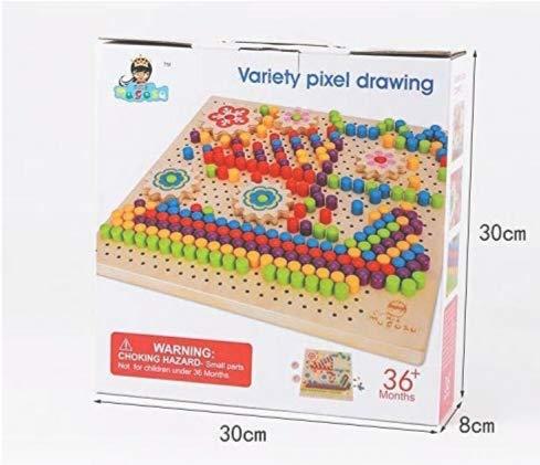Joc mozaic din lemn cu butoni Pixel Drawing