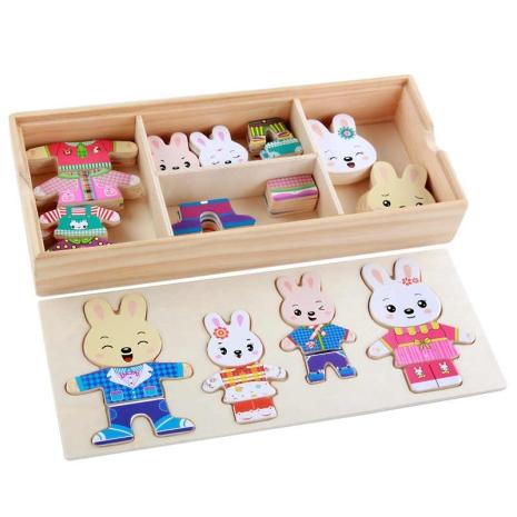 Set puzzle din lemn Imbraca Familia cei 4 Iepurasi