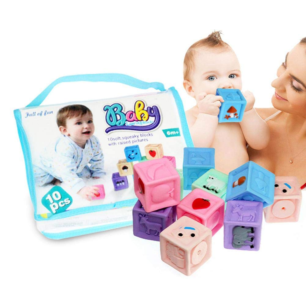 Jucarie bebe Set 10 cuburi cauciuc cu Animale si fructe