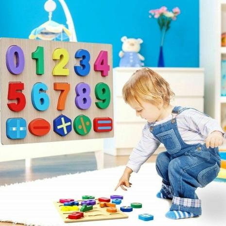 Puzzle lemn 3D cifre de la 0-9 Operatii matematice