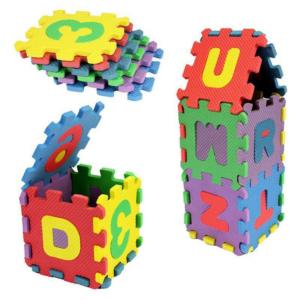 Covoras puzzle litere si cfre 17x17cm spuma 36pcs