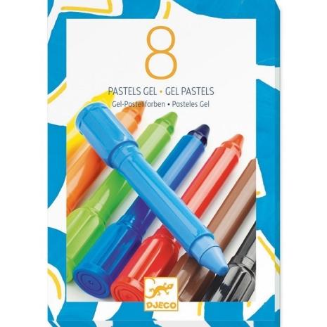Set 8 creioane culori intense cu gel Djeco